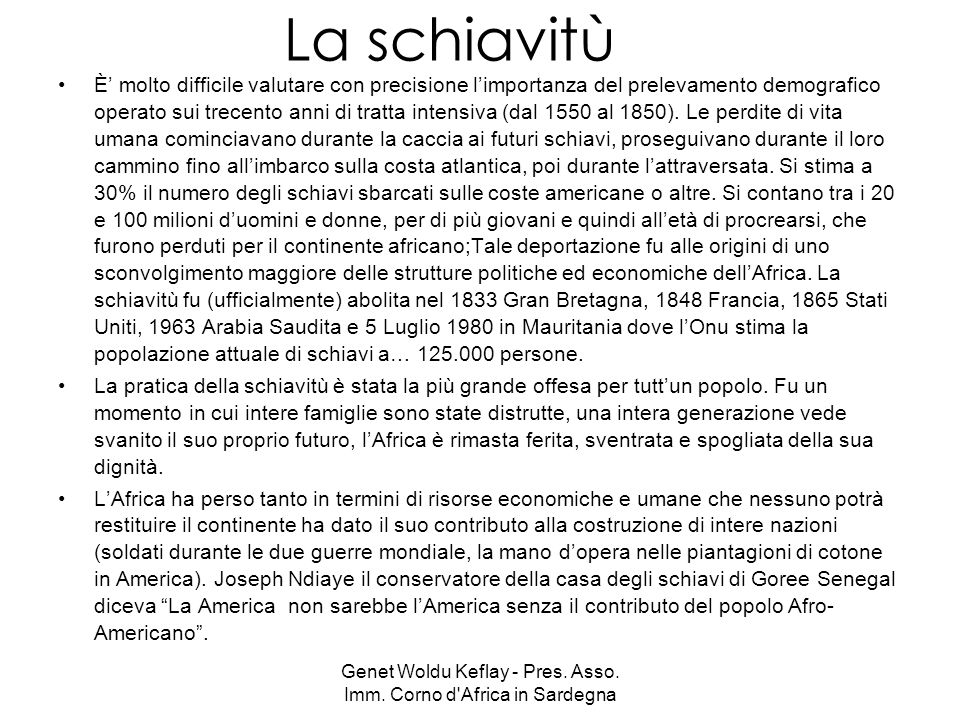 Genet Woldu Keflay - Pres. Asso. Imm. Corno d Africa in Sardegna