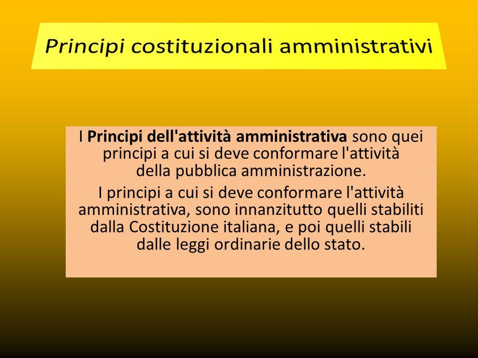 I Principi dell attività amministrativa sono quei principi a cui si deve conformare l attività della pubblica amministrazione.