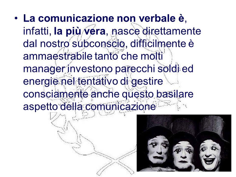 La comunicazione non verbale è, infatti, la più vera, nasce direttamente dal nostro subconscio, difficilmente è ammaestrabile tanto che molti manager investono parecchi soldi ed energie nel tentativo di gestire consciamente anche questo basilare aspetto della comunicazione