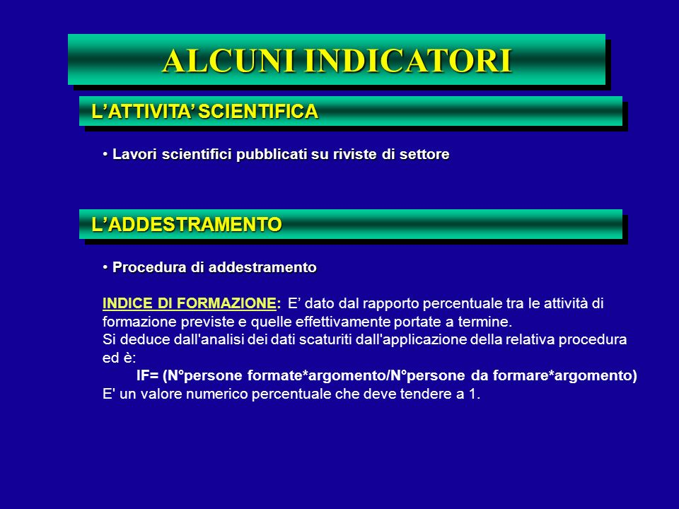 ALCUNI INDICATORI L'ATTIVITA' SCIENTIFICA L'ADDESTRAMENTO