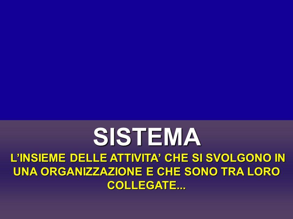 SISTEMA L'INSIEME DELLE ATTIVITA' CHE SI SVOLGONO IN UNA ORGANIZZAZIONE E CHE SONO TRA LORO COLLEGATE...