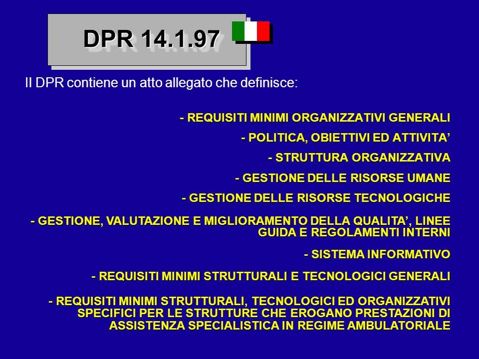 DPR 14.1.97 Il DPR contiene un atto allegato che definisce: