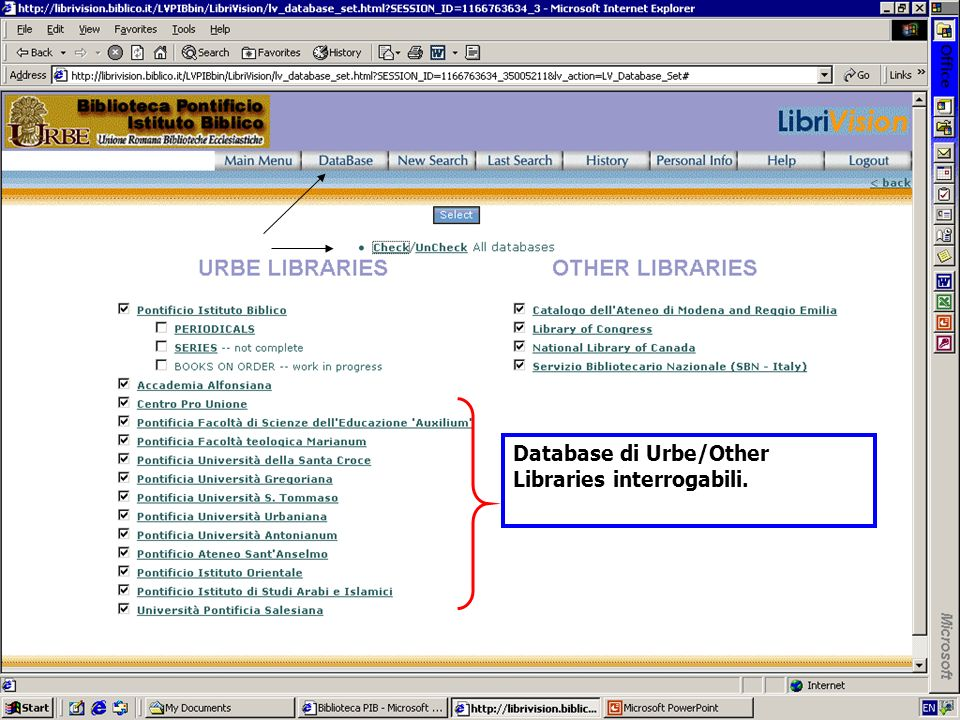 Database di Urbe/Other Libraries interrogabili.