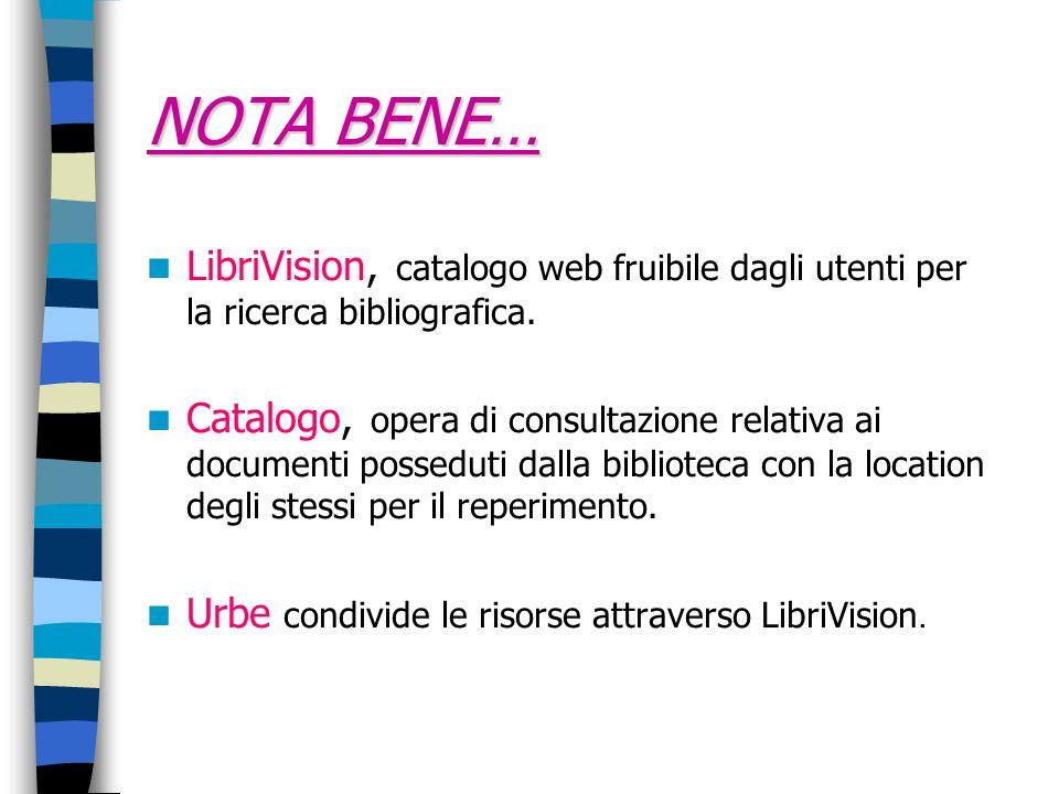 NOTA BENE… LibriVision, catalogo web fruibile dagli utenti per la ricerca bibliografica.