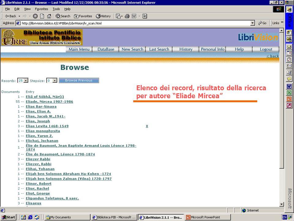 Elenco dei record, risultato della ricerca
