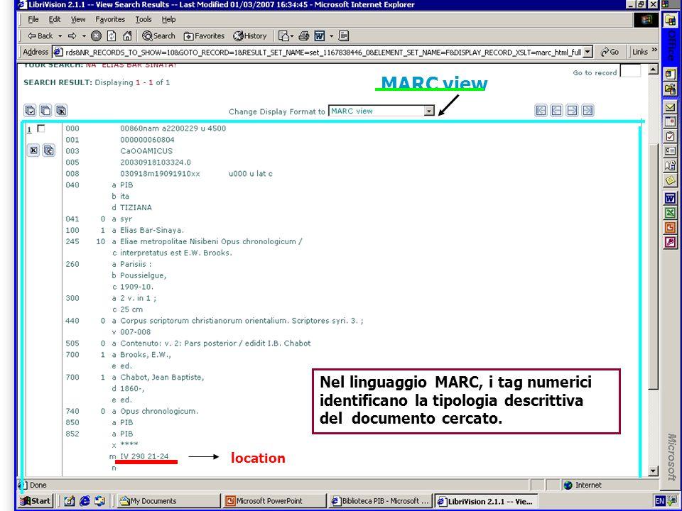 MARC view Nel linguaggio MARC, i tag numerici