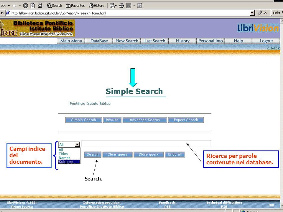 Ricerca per parole contenute nel database.