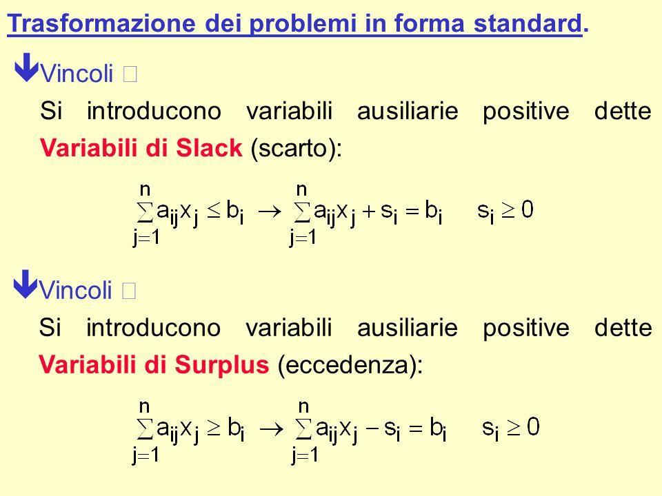 Trasformazione dei problemi in forma standard.
