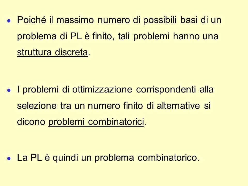Poiché il massimo numero di possibili basi di un problema di PL è finito, tali problemi hanno una struttura discreta.