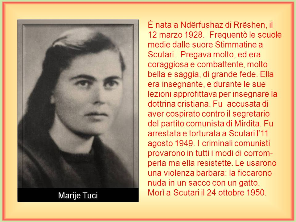 È nata a Ndërfushaz di Rrëshen, il 12 marzo 1928
