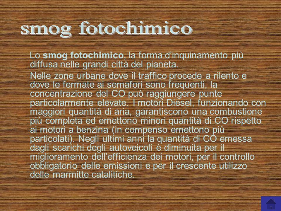 smog fotochimico Lo smog fotochimico, la forma d'inquinamento più diffusa nelle grandi città del pianeta.