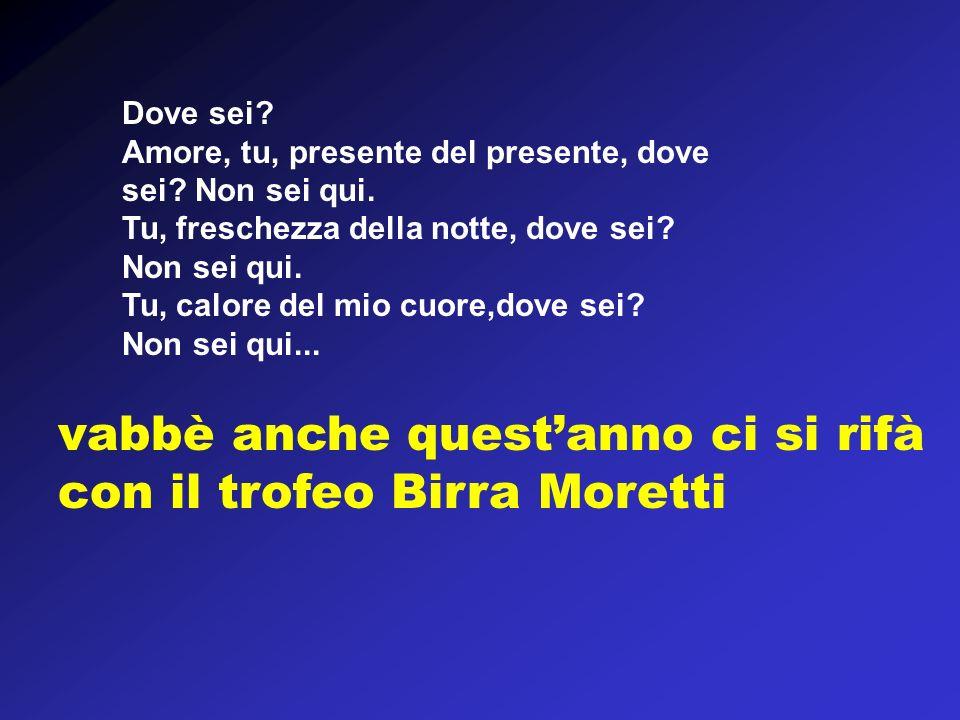 vabbè anche quest'anno ci si rifà con il trofeo Birra Moretti
