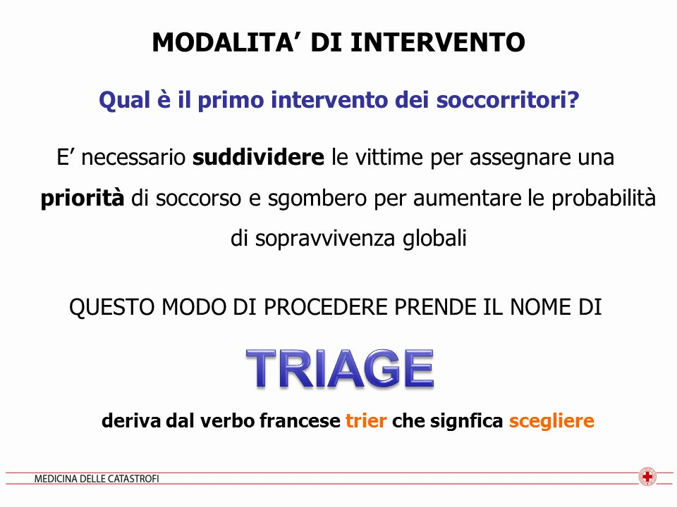 TRIAGE MODALITA' DI INTERVENTO