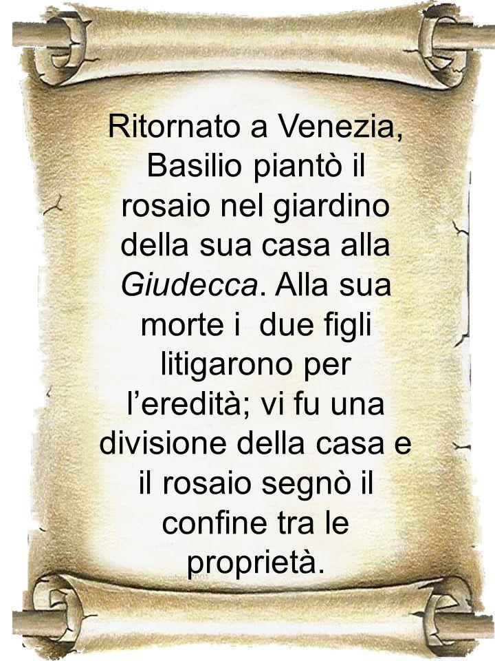 Ritornato a Venezia, Basilio piantò il rosaio nel giardino della sua casa alla Giudecca.
