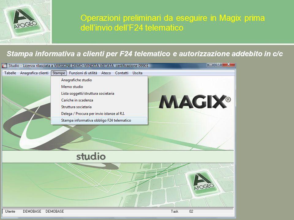 Operazioni preliminari da eseguire in Magix prima dell'invio dell'F24 telematico