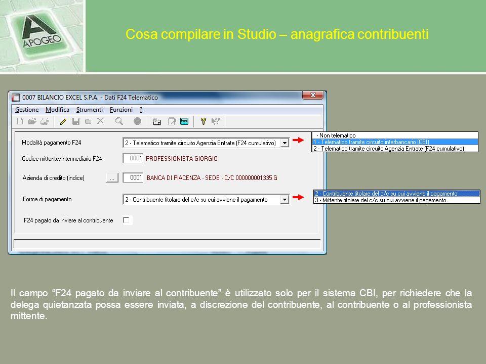 Cosa compilare in Studio – anagrafica contribuenti