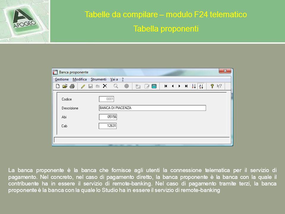 Tabelle da compilare – modulo F24 telematico Tabella proponenti