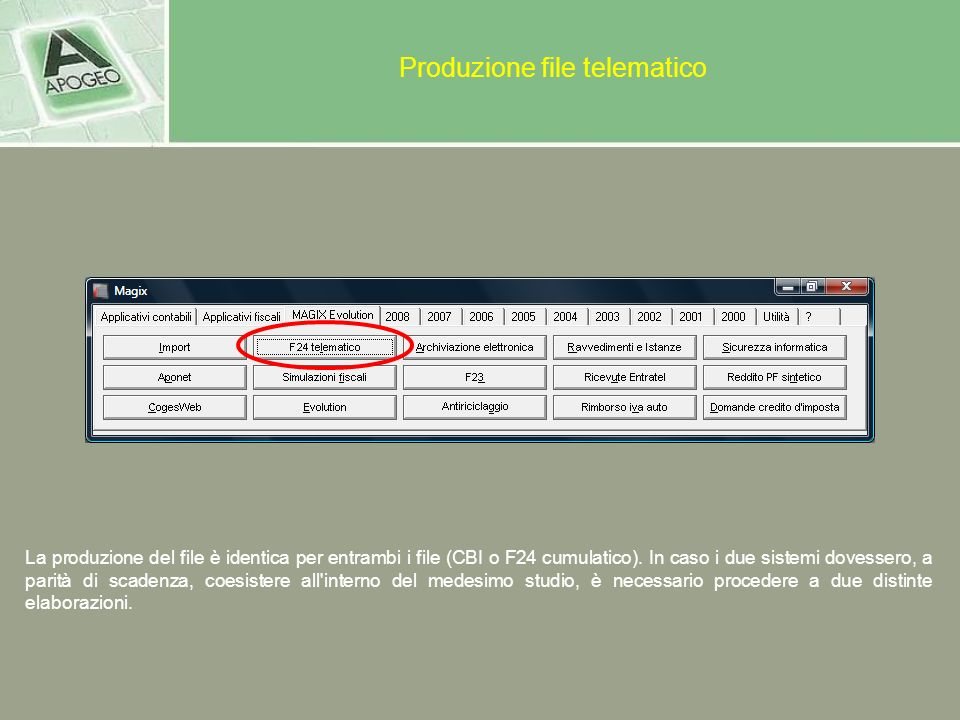 Produzione file telematico