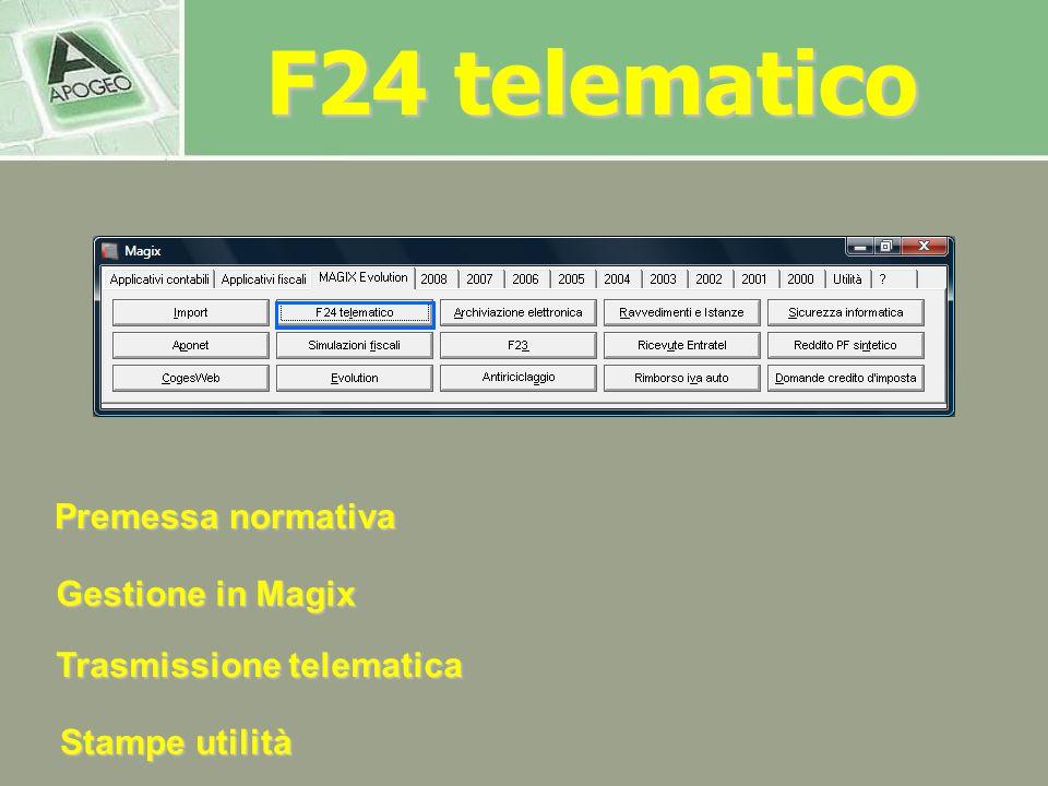 F24 telematico Premessa normativa Gestione in Magix