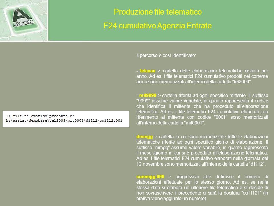 Produzione file telematico F24 cumulativo Agenzia Entrate