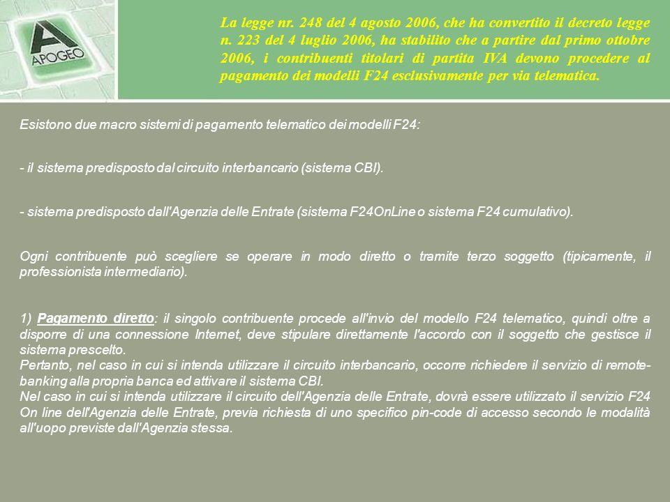 La legge nr. 248 del 4 agosto 2006, che ha convertito il decreto legge n. 223 del 4 luglio 2006, ha stabilito che a partire dal primo ottobre 2006, i contribuenti titolari di partita IVA devono procedere al pagamento dei modelli F24 esclusivamente per via telematica.