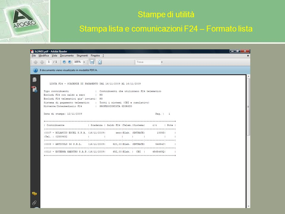 Stampa lista e comunicazioni F24 – Formato lista