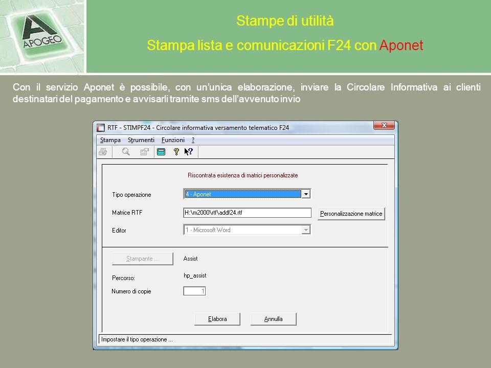 Stampa lista e comunicazioni F24 con Aponet