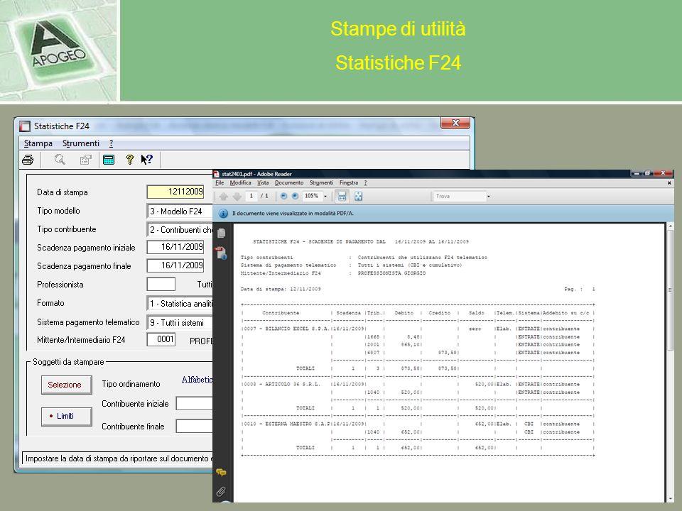 Stampe di utilità Statistiche F24