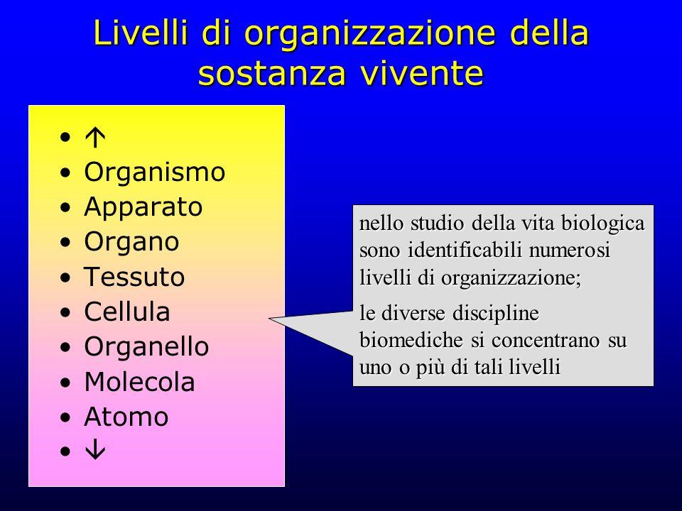 Livelli di organizzazione della sostanza vivente