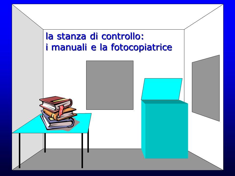 la stanza di controllo: i manuali e la fotocopiatrice