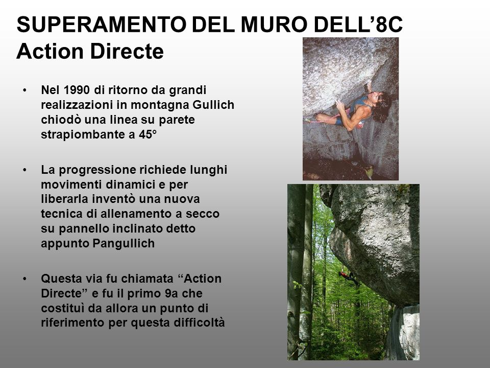 SUPERAMENTO DEL MURO DELL'8C Action Directe