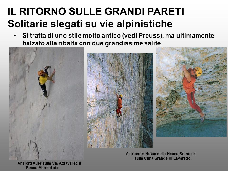 IL RITORNO SULLE GRANDI PARETI Solitarie slegati su vie alpinistiche