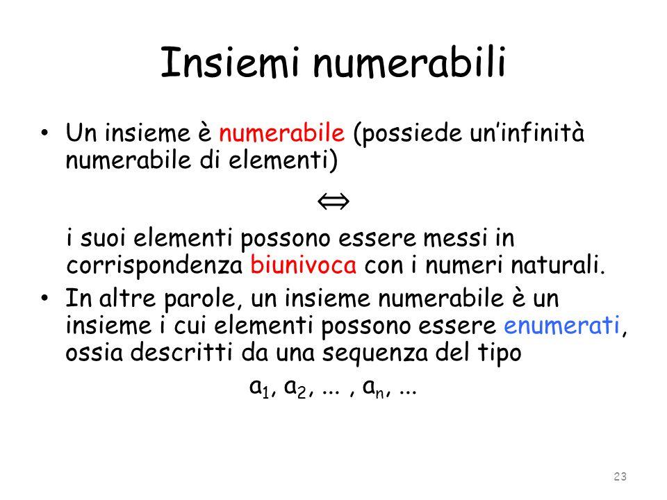 Insiemi numerabili Un insieme è numerabile (possiede un'infinità numerabile di elementi) ⇔