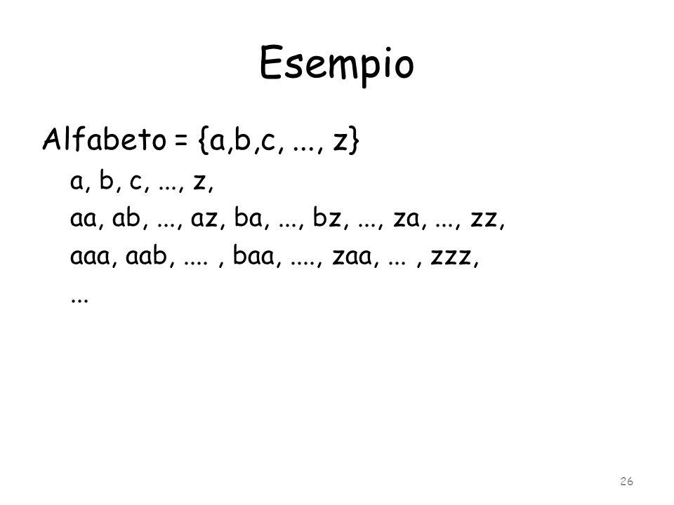 Esempio Alfabeto = {a,b,c, ..., z} a, b, c, ..., z,