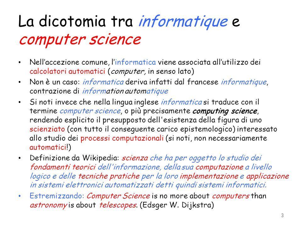 La dicotomia tra informatique e computer science