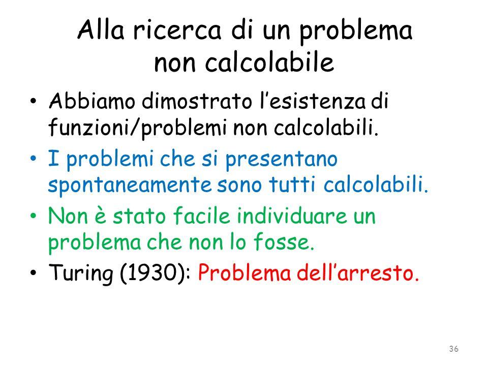 Alla ricerca di un problema non calcolabile