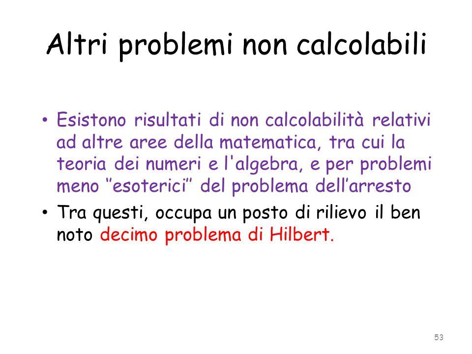 Altri problemi non calcolabili