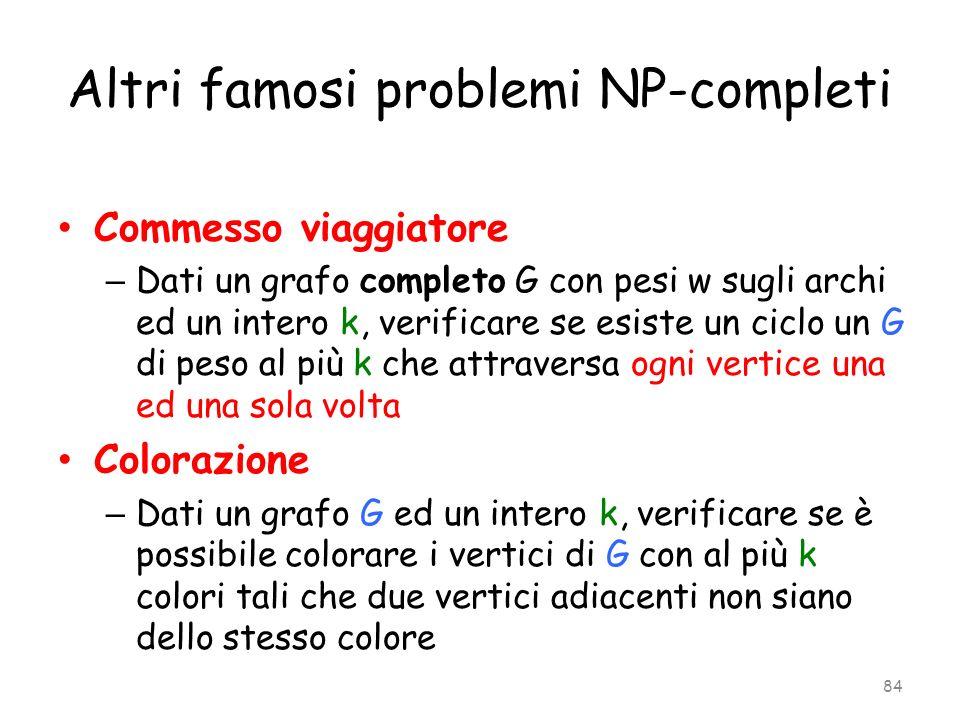 Altri famosi problemi NP-completi