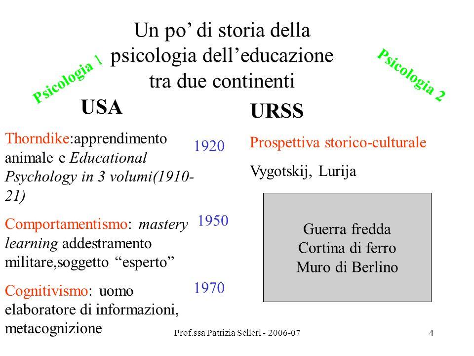 Un po' di storia della psicologia dell'educazione tra due continenti