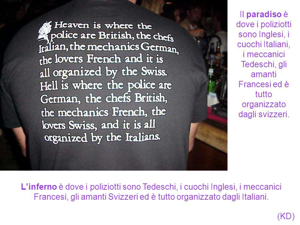 Il paradiso è dove i poliziotti sono Inglesi, i cuochi Italiani, i meccanici Tedeschi, gli amanti Francesi ed è tutto organizzato dagli svizzeri.