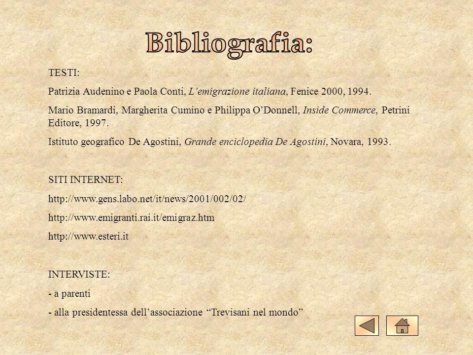 Bibliografia: TESTI: Patrizia Audenino e Paola Conti, L'emigrazione italiana, Fenice 2000, 1994.