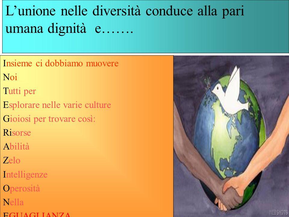 L'unione nelle diversità conduce alla pari umana dignità e…….
