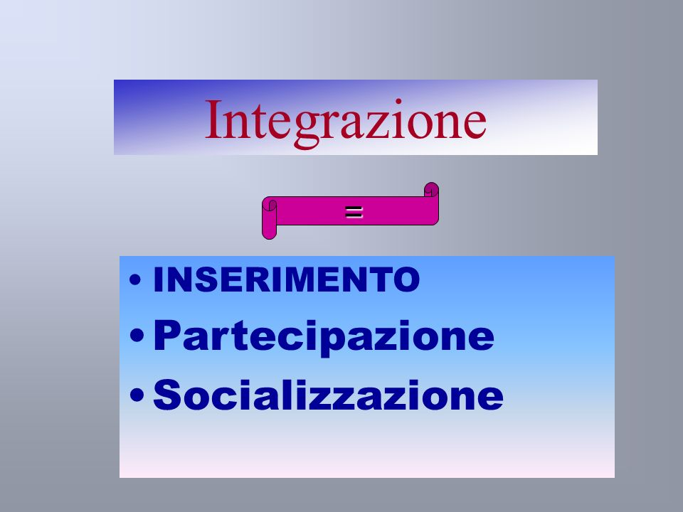 Integrazione = INSERIMENTO Partecipazione Socializzazione