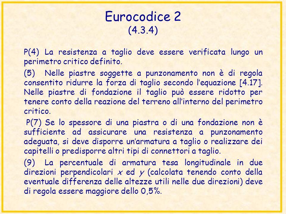 Eurocodice 2 (4.3.4) P(4) La resistenza a taglio deve essere verificata lungo un perimetro critico definito.