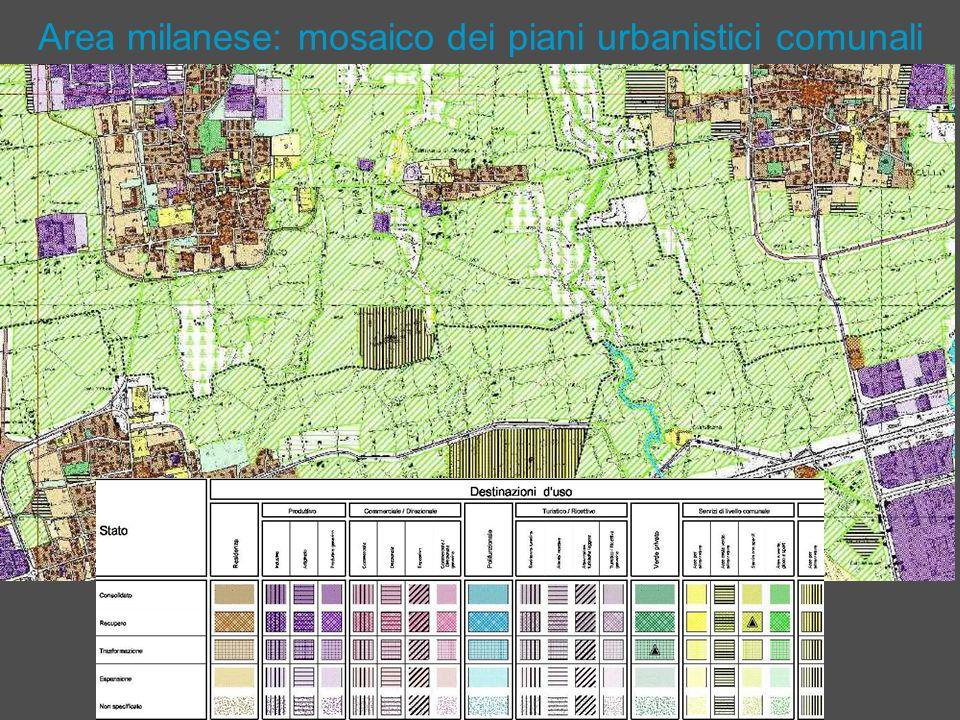 Area milanese: mosaico dei piani urbanistici comunali