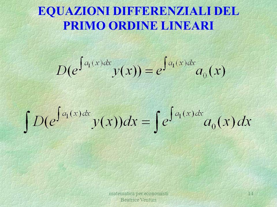 EQUAZIONI DIFFERENZIALI DEL PRIMO ORDINE LINEARI