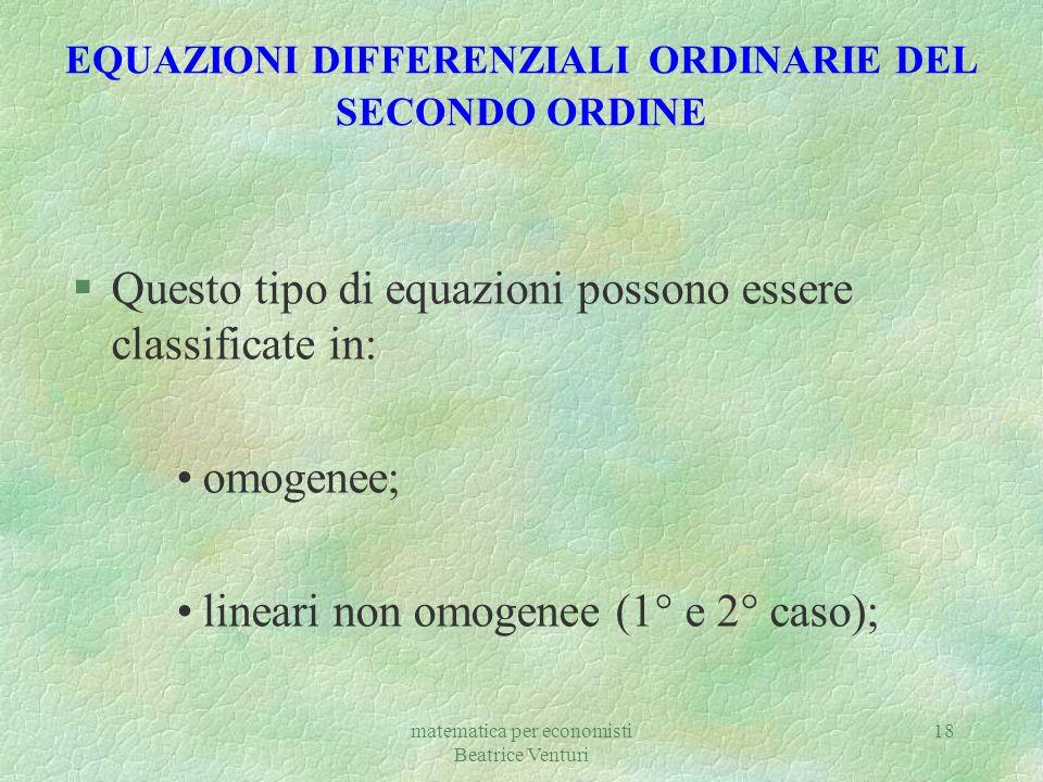 EQUAZIONI DIFFERENZIALI ORDINARIE DEL SECONDO ORDINE