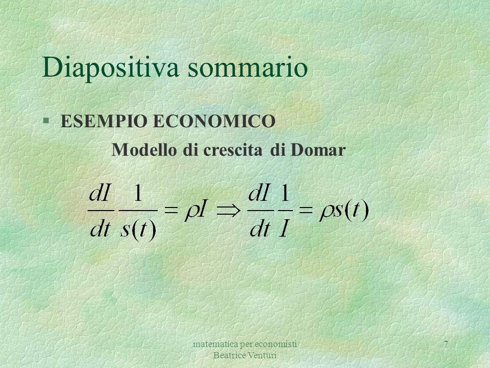 Diapositiva sommario ESEMPIO ECONOMICO Modello di crescita di Domar
