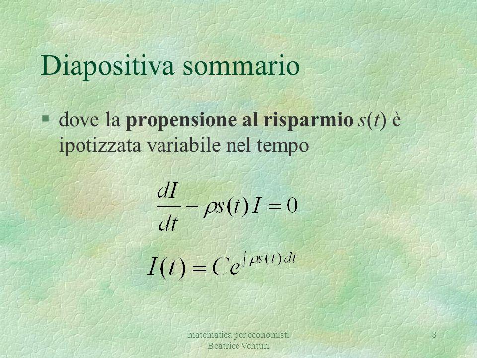matematica per economisti Beatrice Venturi