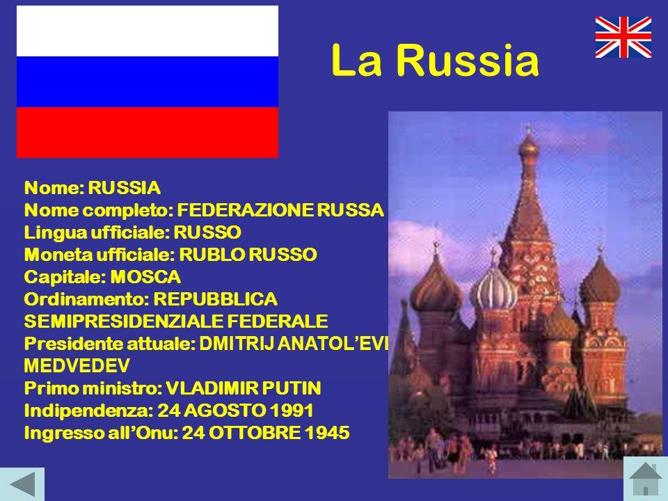 La Russia Nome: RUSSIA Nome completo: FEDERAZIONE RUSSA